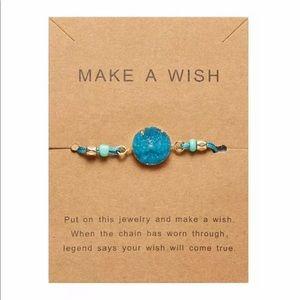 Adjustable Blue & Gold Druzy Bracelet